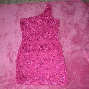 One Sleeve Pink Dress with Fringe